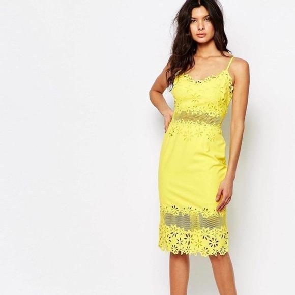 ASOS Dresses & Skirts - ASOS RIVER ISLAND  Yellow Laser Cut Pencil Dress